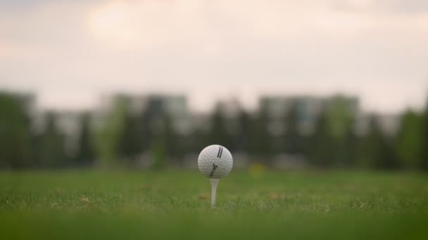 Hitting a golf ball with a club. Heavy stick (wood). Slow motion,, close-up, shallow depth of field.