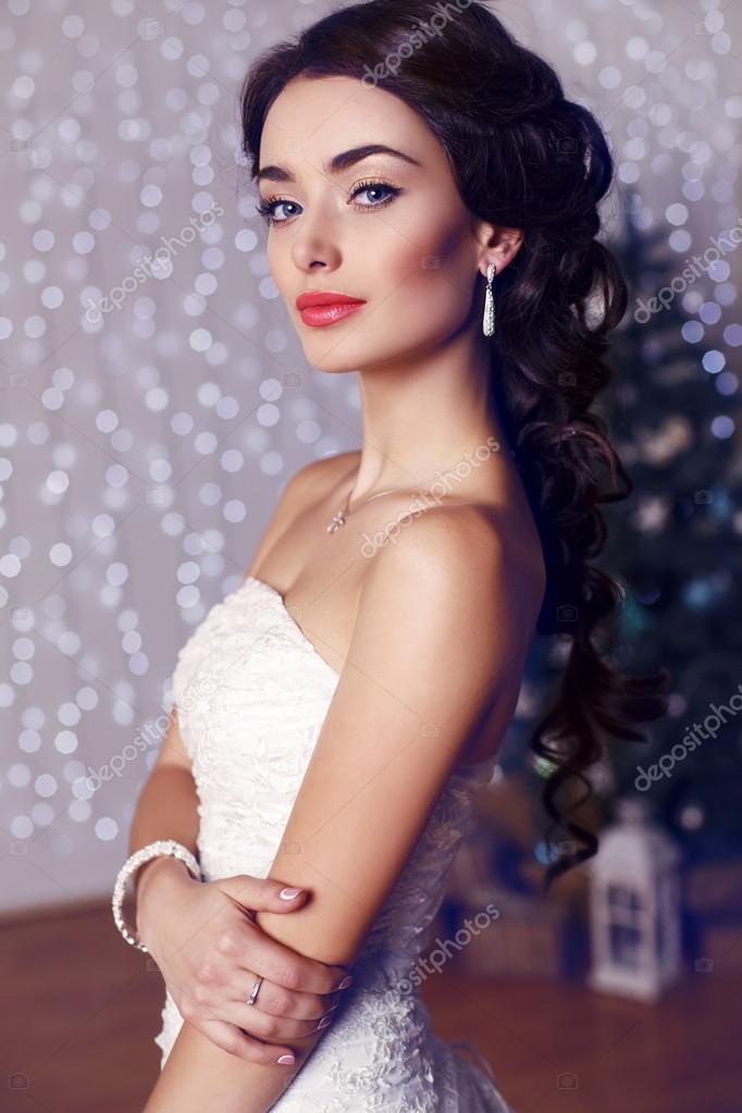 Portrait Of Beautiful Bride With Dark Hair In Elegant