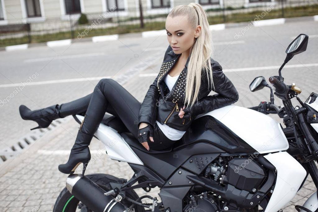 Blonde leather biker amateur