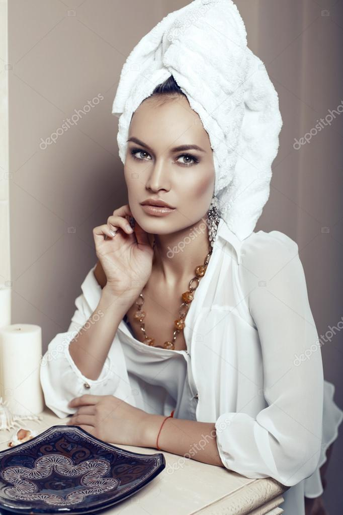Fashion interior photo of beautiful sexy girl with towel on head and with  bijou — Photo by Slava 14 15c3100f0