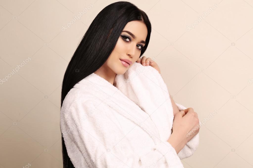 Fashion studio photo of beautiful sensual woman with long dark hair and  bright makeup 8e332aa9b7
