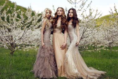 charming girls in luxurious sequin dresses posing in blossom garden