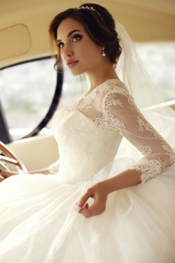 beautiful sensual bride with dark hair in luxurious lace wedding dress