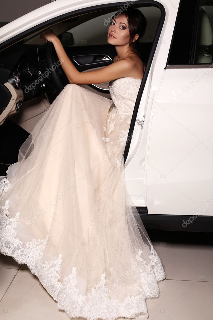 5f5ef7358e9 Fashion photo of gorgeous woman with long dark hair wears luxurious dress