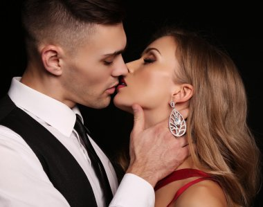 love story. beatiful sexy couple. gorgeous blond woman and handsome mann