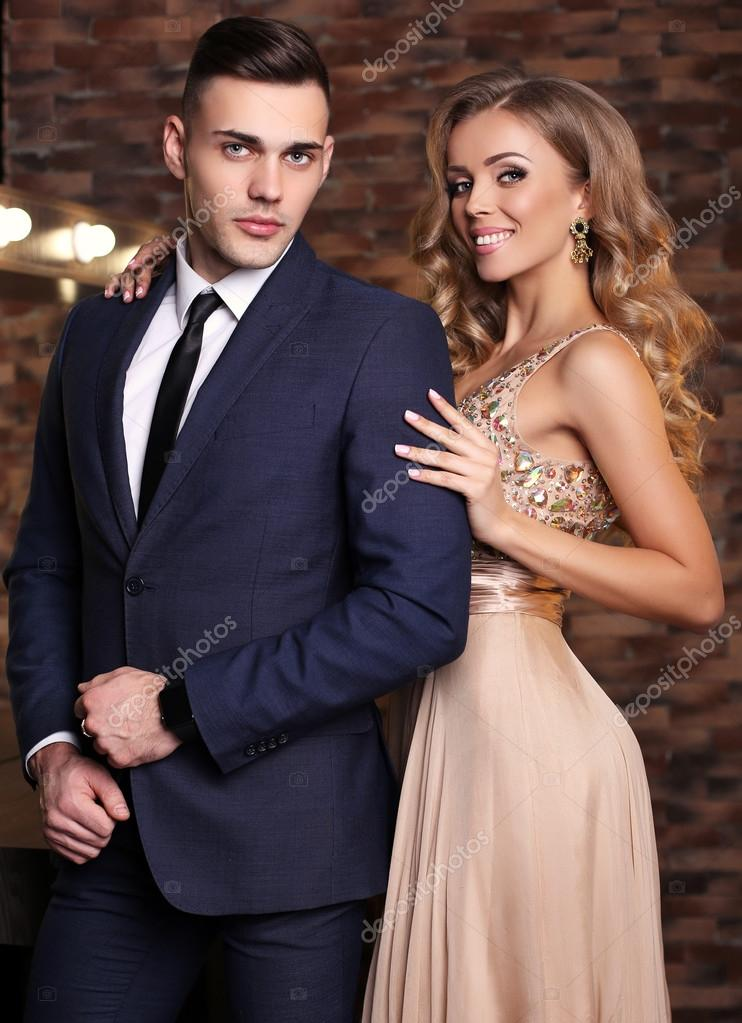 Love Story Beatiful Sexy Couple Gorgeous Blond Woman And Handsome Man  Stock -3362