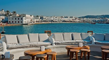 The terrace with a view to the old port, Mykonos, Greece