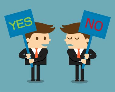 Businessman holding a signboard with the word yes or no written in it