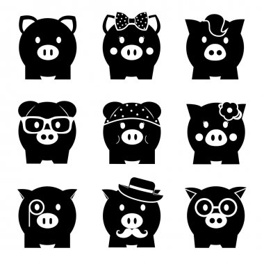 Piggy bank icon set, front view