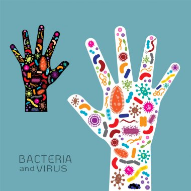Hand with bacteria and virus