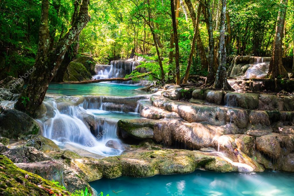 Фотообои Красивый водопад в глубоком лесу