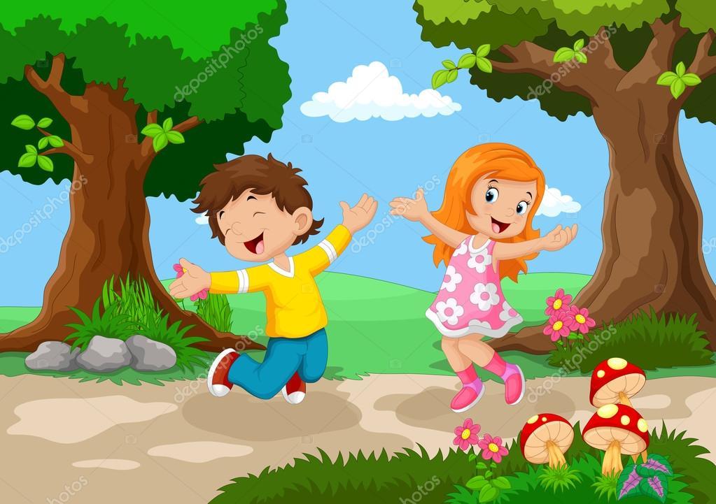 Niños Y Niñas Saltando Para La Alegría En Un Hermoso
