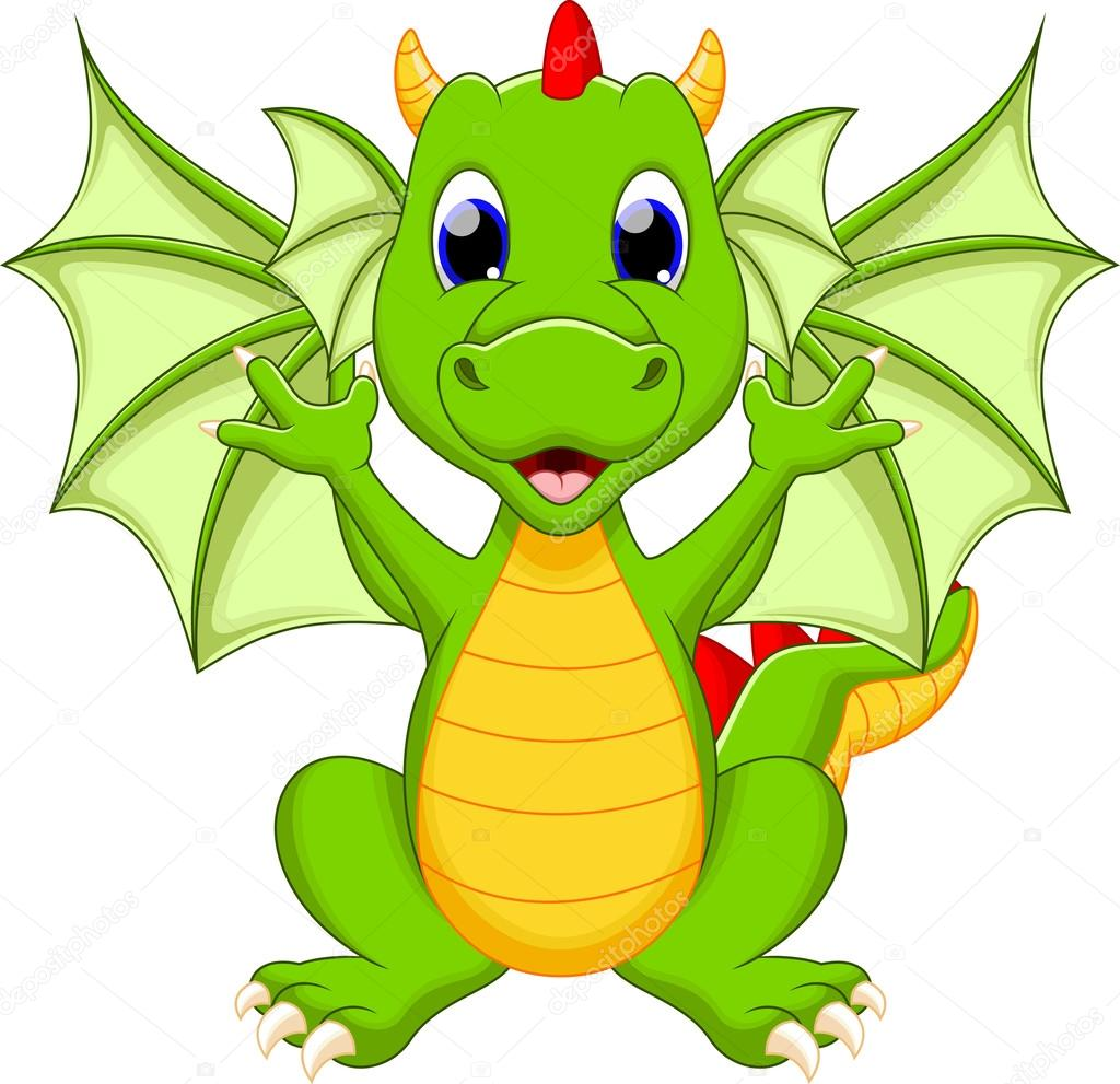 Dibujos animados de dragon — vector stock irwanjos