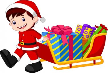 Child pulling a sleigh full of gifts