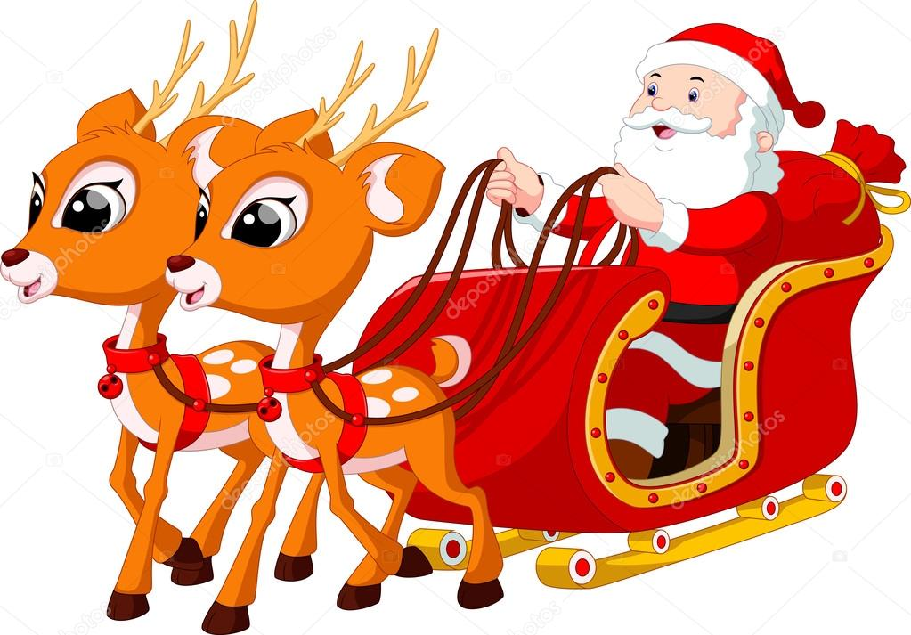 how to draw santa and his reindeer