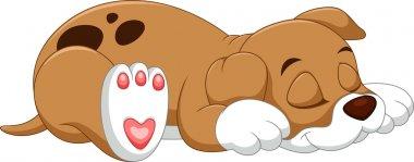 Cute dog cartoon sleep