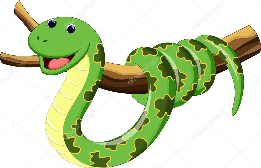 Dessin Animé Serpent dessin animé mignon serpent — image vectorielle irwanjos2 © #79035238