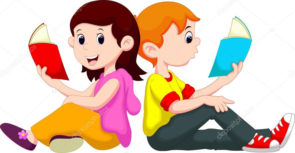 Boy And Girl Reading Book Boy And Girl Reading Book Stock
