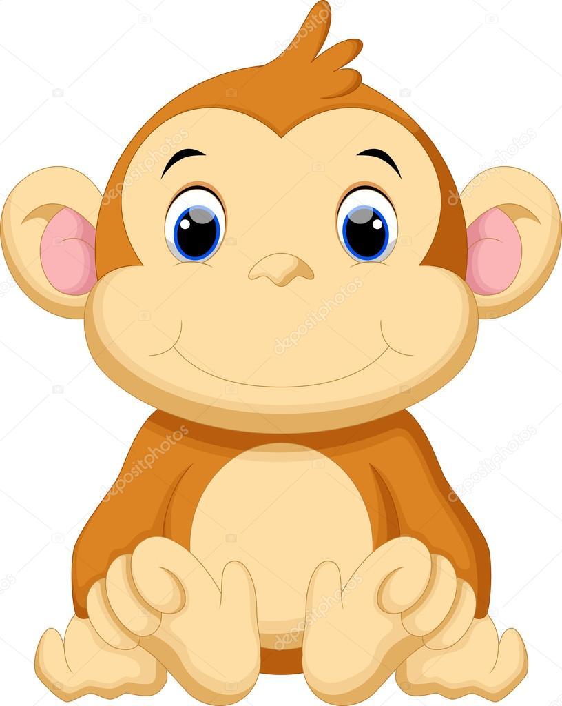 Stock Illustration Cute Baby Monkey Cartoon