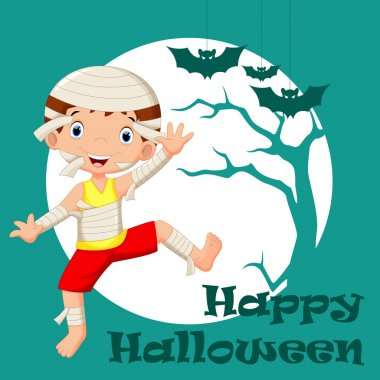 Funny cartoon little mummy, boy wearing Halloween costume