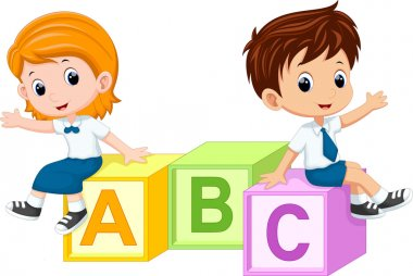 Two students sitting on the alphabet blocks
