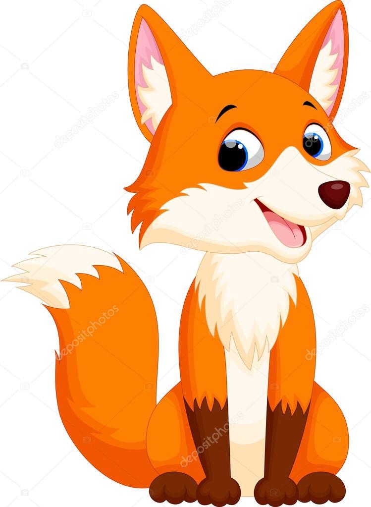 Illustrazione di cartone animato carino volpe — vettoriali