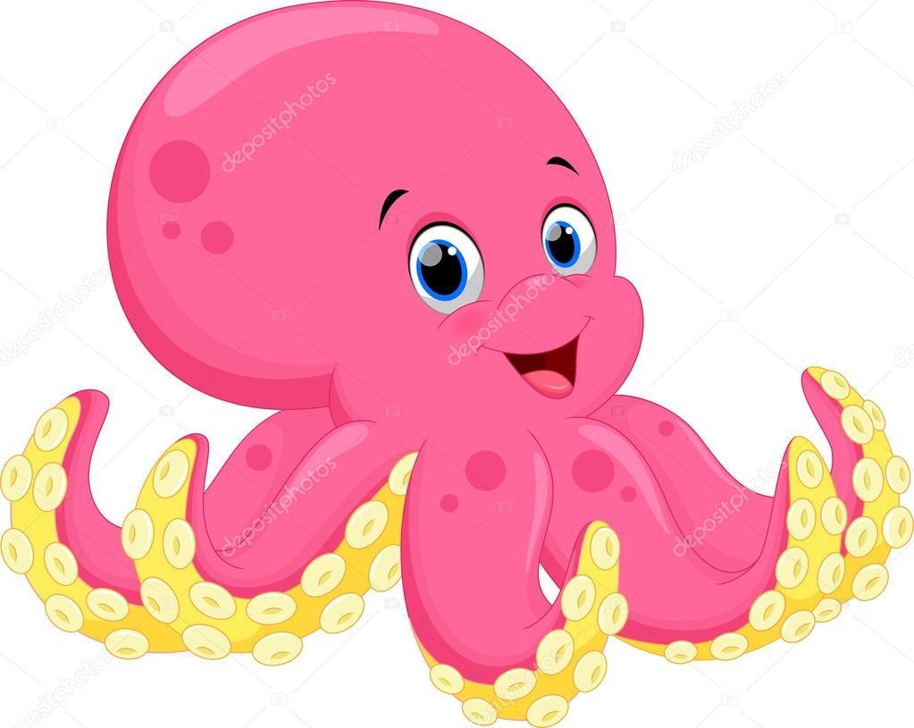 Cute octopus cartoon stock vector irwanjos2 88033934 for Baby octopus cartoon