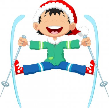 Skier jumping cartoon
