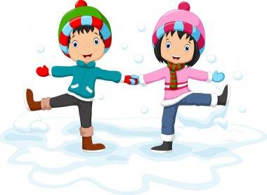 Boys and girls having fun in winter