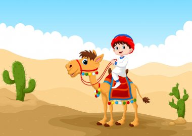 Arab boy riding a camel in the desert
