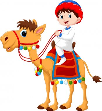 Arab boy riding a camel