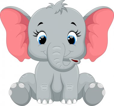 Cute baby elephant cartoon sitting