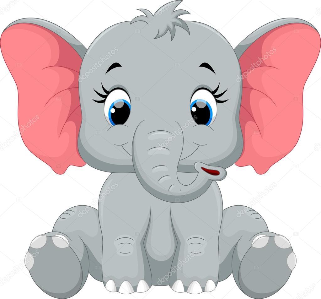 Dibujos animados de elefante lindo beb sentado vector - Fotos de elefantes bebes ...