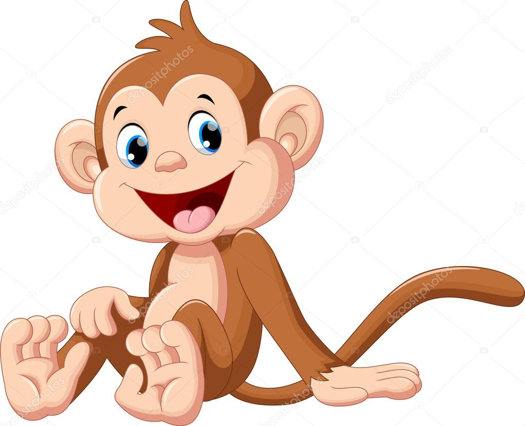 Cute Baby Monkey Cartoon Sitting Stock Vector C Irwanjos2 95756920