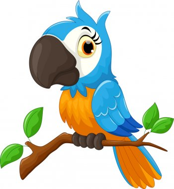 Cartoon parrot sitting on tree branch