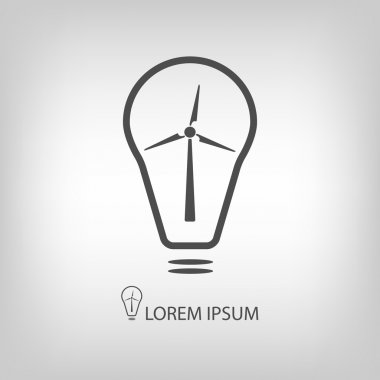 Bulb with wind turbine as eco energy symbol