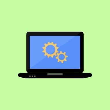 Flat style laptop with gear wheels