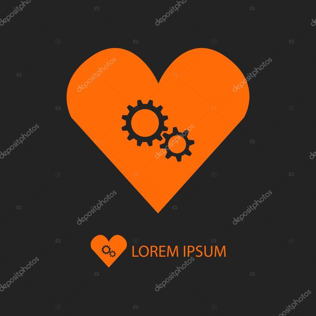 Orange heart with gear wheels on black