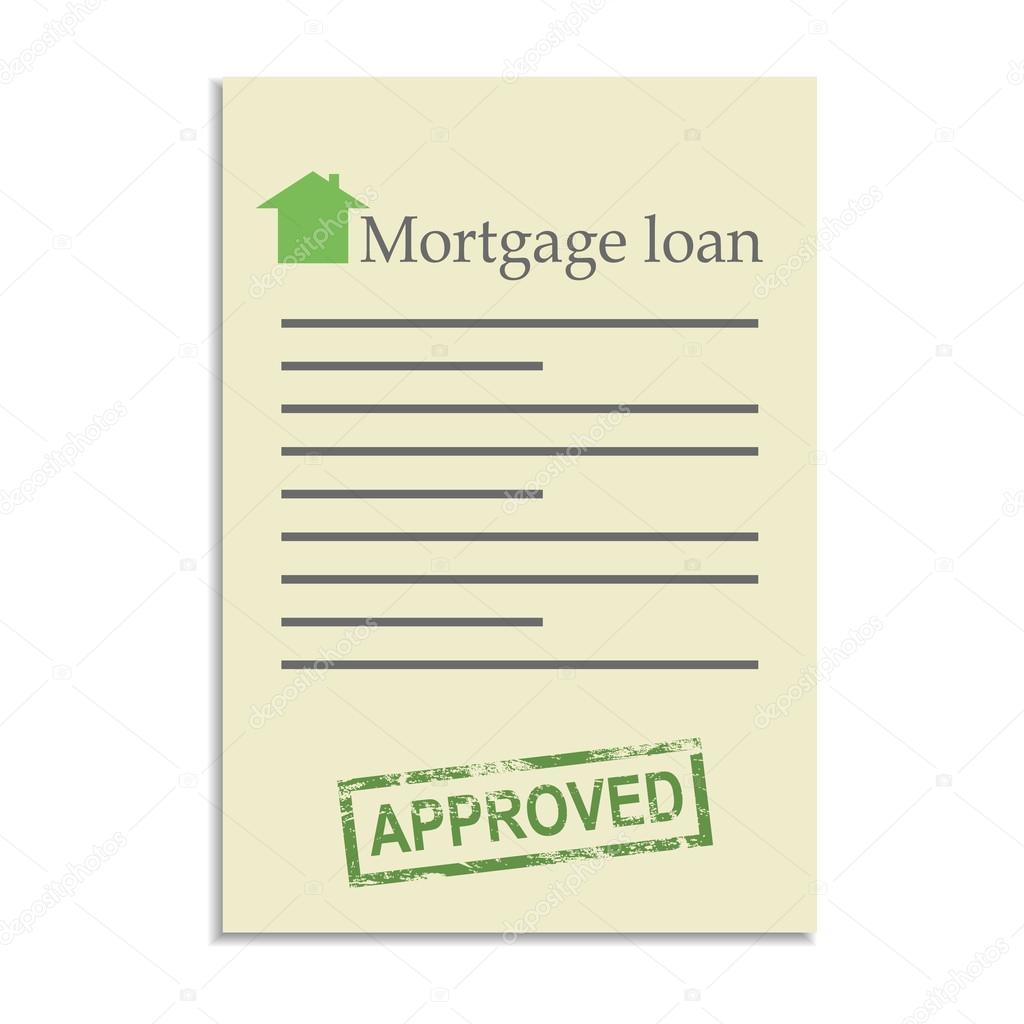 Hypothek-Darlehen-Dokument mit zugelassenen Stempel — Stockvektor ...