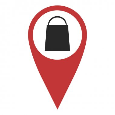 Red geo pin with shopping bag