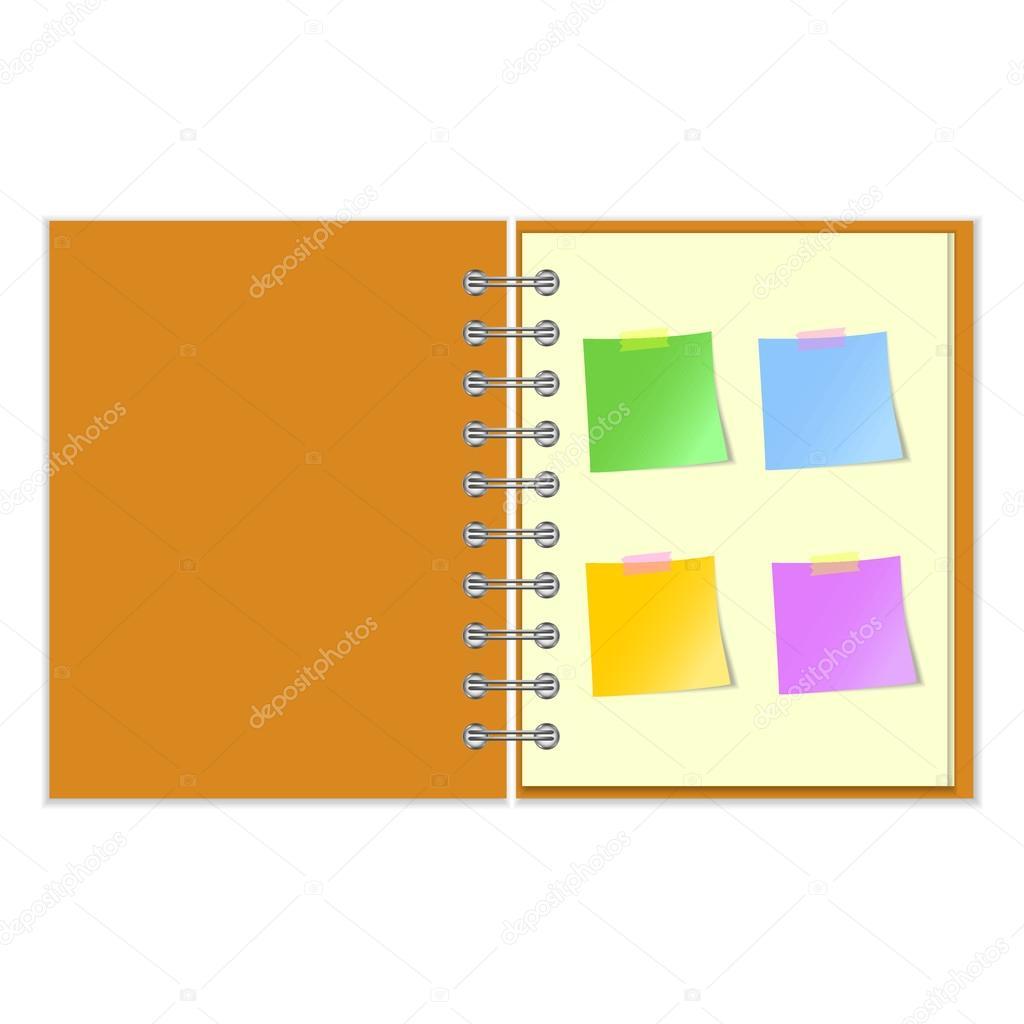 Otevřít poznámkový blok s nálepkami — Stockový vektor · Open notebook with  four colorful stickers on white background — Vektor od ... c5fdaaa4a3