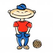 fiú a labdát