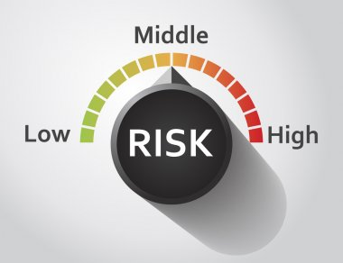 Risk button pointing between low and high level, Vector graphic clip art vector