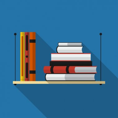 Flat bookshelf with long shadow. Vector icon