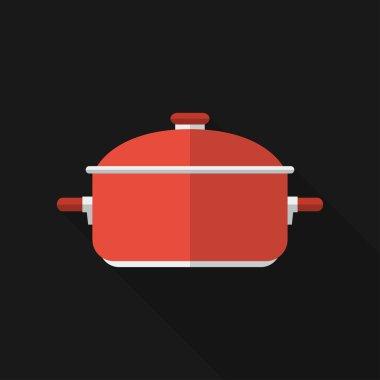 Flat saucepan with long shadow. Vector icon