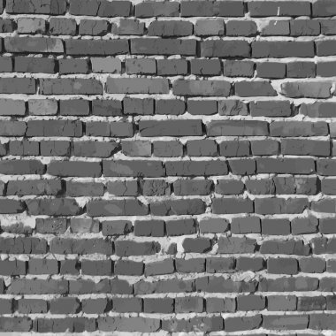 Black and white brick wall. Vector background