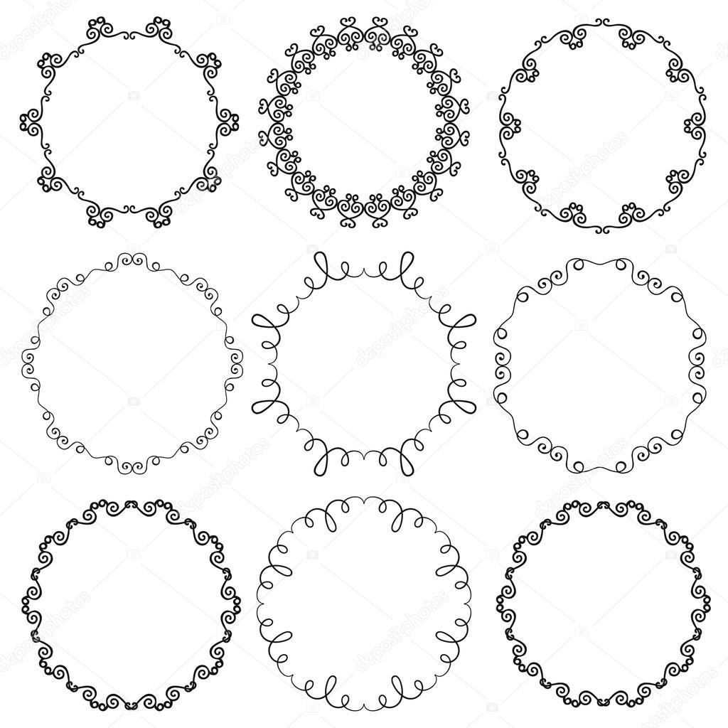 Colección de mano dibuja Marcos ornamentales círculo — Vector de ...
