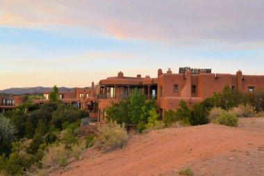 Adobe architecture style house in Sata Fe, New Mexico