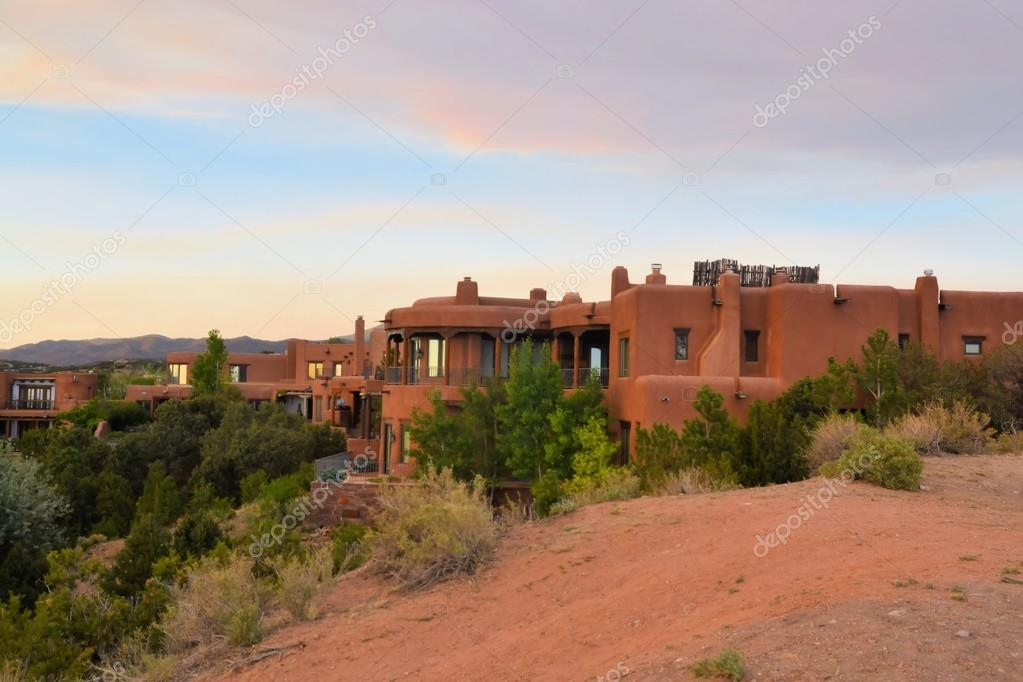 Adobe architecture style house in Sata Fe, New Mexico