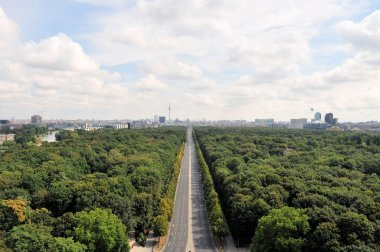 Aerial cityscape of Berlin with Tiergarten park
